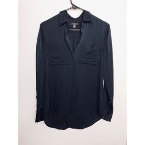 J Crew | Navy Blue Silk Pocket Button Down Shirt